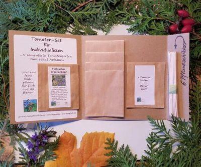 Geschenkidee für Gärtner, Tomatensamen zum Auswählen aufgeklappt
